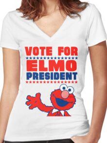 VOTE ELMO FOR PRESIDENT Women's Fitted V-Neck T-Shirt