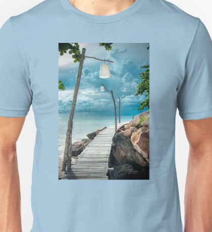 Empty wooden pier on tropical island Unisex T-Shirt