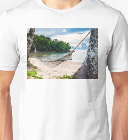 Hammock and palm trees on exotic tropical beach Unisex T-Shirt