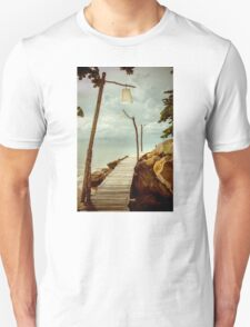 Empty wooden pier on tropical island, color filter applied T-Shirt