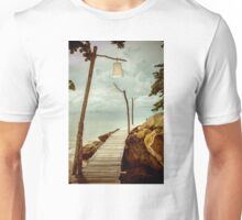 Empty wooden pier on tropical island, color filter applied Unisex T-Shirt
