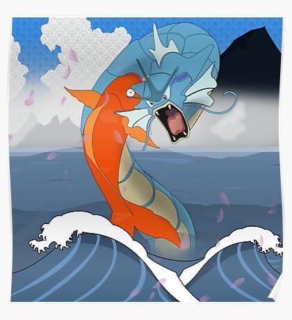 Pokemon Koi Dragon (Gyarados & Magikarp) Poster