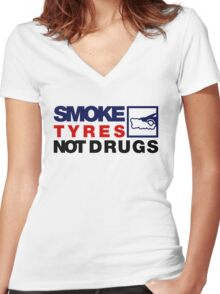 SMOKE TYRES NOT DRUGS (5) Women's Fitted V-Neck T-Shirt