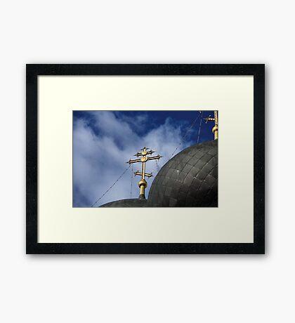 Golden cross on the church  Framed Print