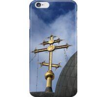 Golden cross on the church  iPhone Case/Skin
