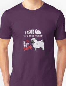 A cute Pug Dog Cartoon with Quote Unisex T-Shirt