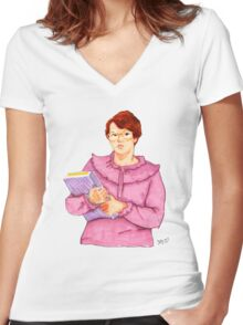 Barb from Stranger Things Portrait Women's Fitted V-Neck T-Shirt