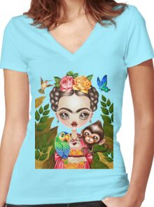 Frida Querida Women's Fitted V-Neck T-Shirt