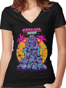 Hotline Miami Women's Fitted V-Neck T-Shirt