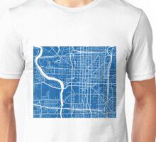 Indianapolis Map - Deep Blue Unisex T-Shirt