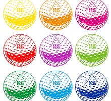 Golf tshirt - East Peak Apparel - Multi Coloured Golf Balls Print by springwoodbooks