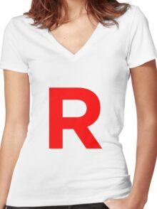 Team Rocket Pokemon Logo Women's Fitted V-Neck T-Shirt