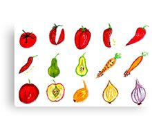Fruits and Vegetables Art Canvas Print
