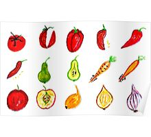 Fruits and Vegetables Art Poster