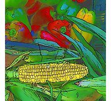 RainbowConfetti Farmers Market Corn on the Cob Photographic Print