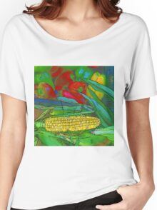 Rainbow Confetti Farmers Market Corn on the Cob Women's Relaxed Fit T-Shirt