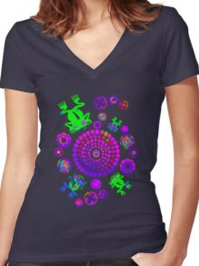 Psychedelic Aztec Frog Pond Women's Fitted V-Neck T-Shirt