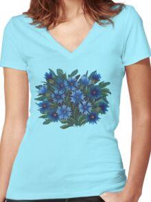 Cornflowers Women's Fitted V-Neck T-Shirt