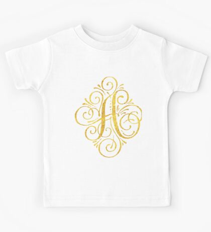 Golden Monogram Calligraphy A Kids Tee