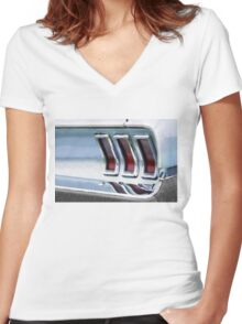 Vintage Car Watercolor Women's Fitted V-Neck T-Shirt