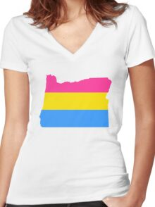 oregon pansexual Women's Fitted V-Neck T-Shirt