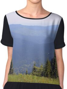 Beautiful natural scenery with mountains and cloudy sky. Chiffon Top