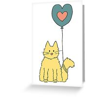 Cat tied to a balloon Greeting Card