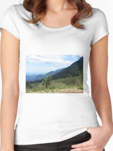 Beautiful natural scenery with mountains and cloudy sky. Women's Fitted Scoop T-Shirt