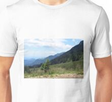 Beautiful natural scenery with mountains and cloudy sky. Unisex T-Shirt