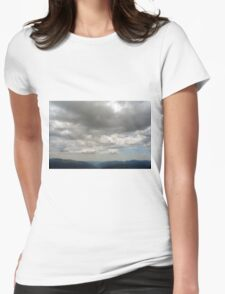 Beautiful natural scenery with mountains and cloudy sky. Womens Fitted T-Shirt