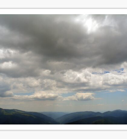 Beautiful natural scenery with mountains and cloudy sky. Sticker