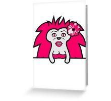 wandern laufen gehen kleiner süßer niedlicher igel kind baby stacheln  Greeting Card