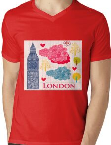 London Romantic 578 Mens V-Neck T-Shirt