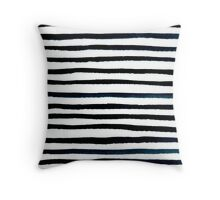 black and white stripes watercolor painting, abstract pattern Throw Pillow