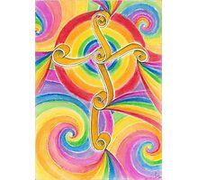 Rainbow Spiral Cross Photographic Print