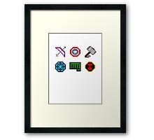 large 8 bit avengers symbols Framed Print