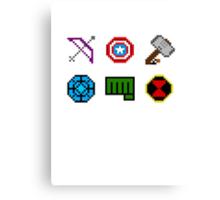 large 8 bit avengers symbols Canvas Print
