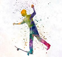 Man skateboard 06 in watercolor by paulrommer