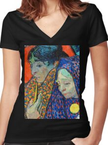 Memory of the Garden at Etten by Van Gogh Women's Fitted V-Neck T-Shirt