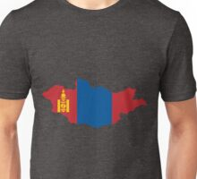 Mongolia Flag Map Unisex T-Shirt