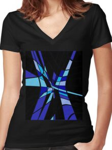 Blue abstraction Women's Fitted V-Neck T-Shirt