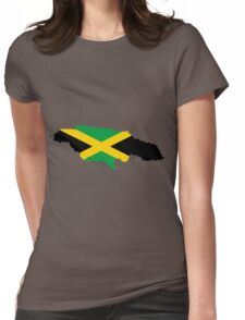 Jamaica Flag Map Womens Fitted T-Shirt
