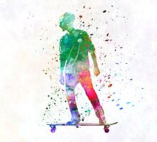 Man skateboard 08 in watercolor by paulrommer