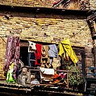 Clothes drying, Kathmandu scene by indiafrank