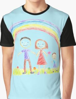 Rainbow And A Happy Family Graphic T-Shirt