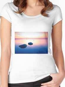 Baltic Sea sunset on the island Poel Women's Fitted Scoop T-Shirt