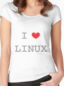 I <3 LINUX Women's Fitted Scoop T-Shirt