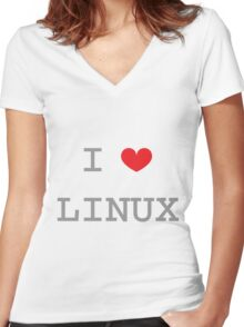 I <3 LINUX Women's Fitted V-Neck T-Shirt