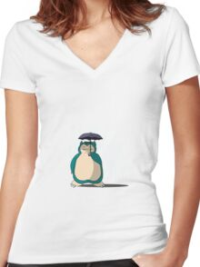 My Neighbor Snorlax  Women's Fitted V-Neck T-Shirt