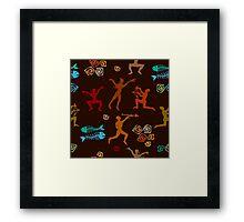 Shamanic hunting. Aboriginals art motifs. Framed Print